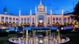 12 Jul 2012, Copenhagen, Zealand, Denmark --- Tivoli gardens by night --- Image by © Jean-Pierre Lescourret/Corbis